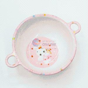 Pink Cartoon Rabbit Rice Soup Bowl with Handle