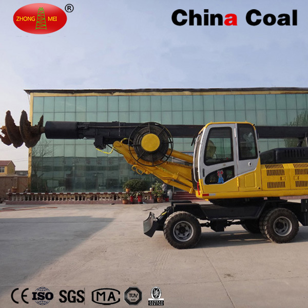 Wheeled Type Rotary Drilling Rig 360 Degree Hydraulic Screw Pile Driver