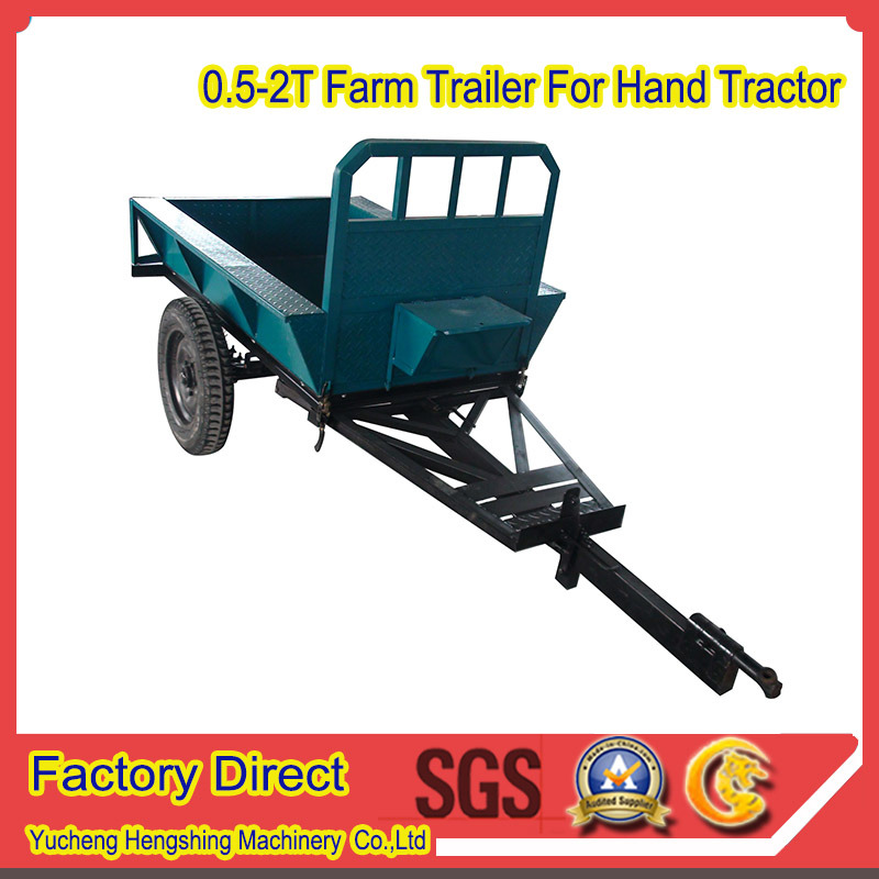 Farm Implemnts Hand Tractor Mini Farm Trailer in 1.5t