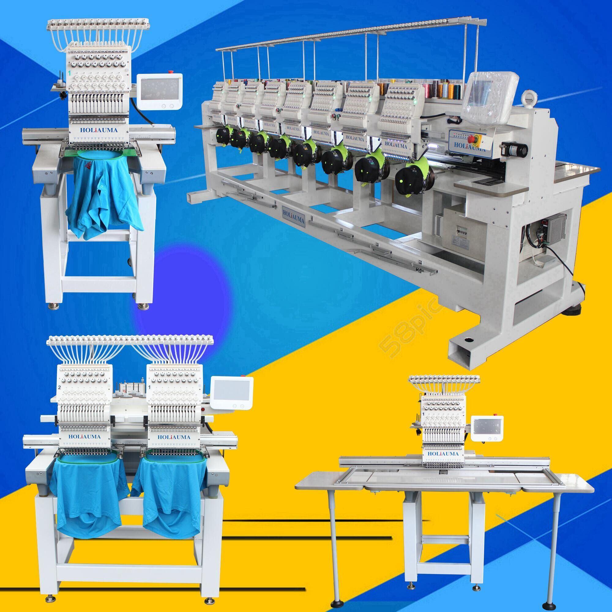 Holiauma Factory New 15 Colors Single Head Computerized Embroidery Machine for Cap/T-Shirt/Flat Garment Multi Embroidery