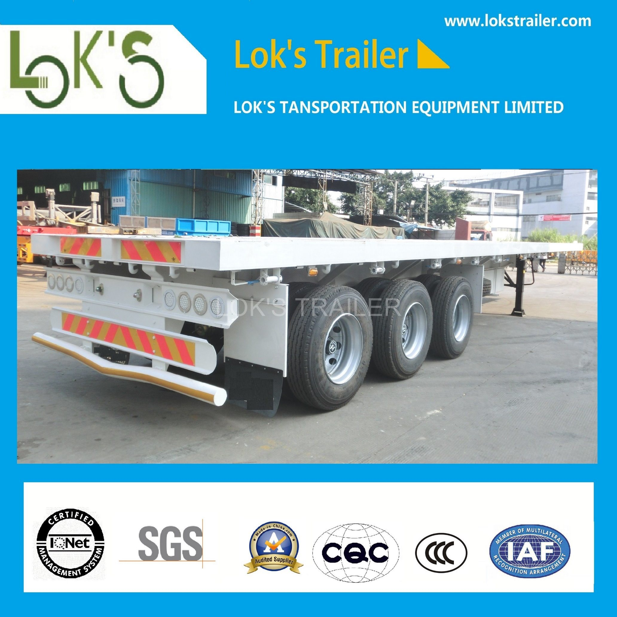 40 Feet 3axles Platfrom Container Cargo Truck /Tractor Semi Trailer