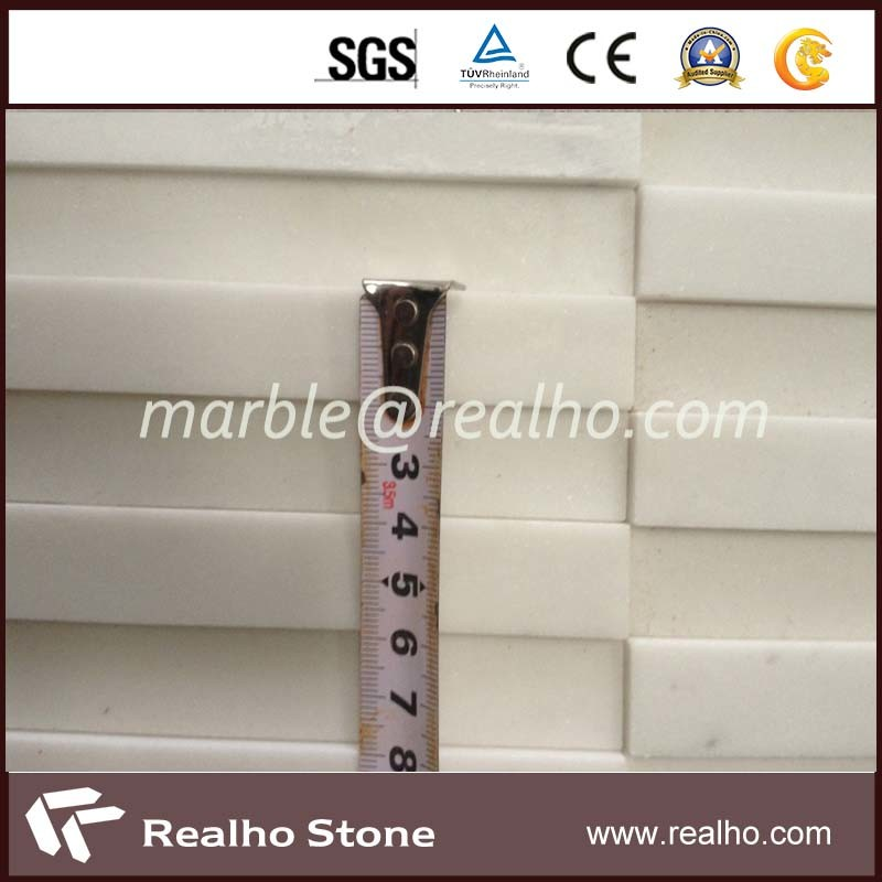 Nature Strip Tile Pure White Marble Mosaic for Bathroom Wall