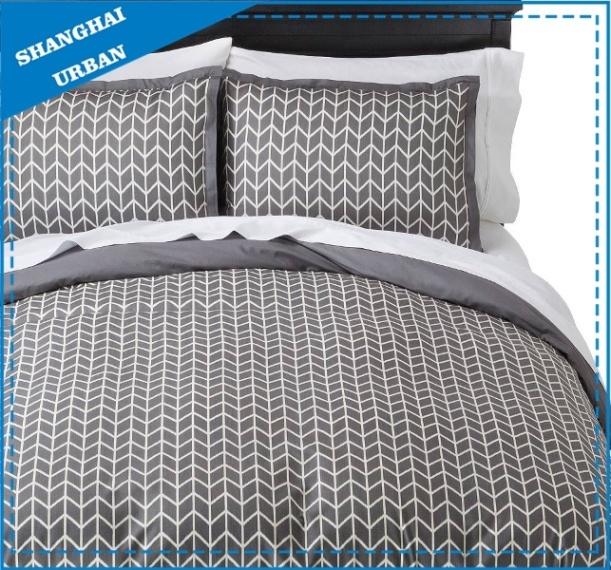 china gray printed pattern cotton duvet cover bedding set