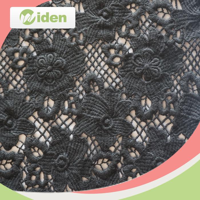 Black Cotton Chemical Lace Fabric