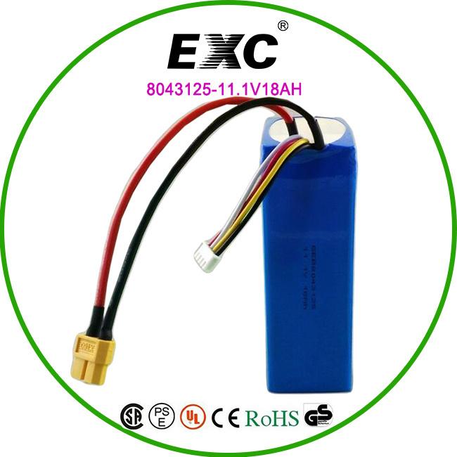 Hot Sales Battery Pack 11V 18ah Lithium Polymer