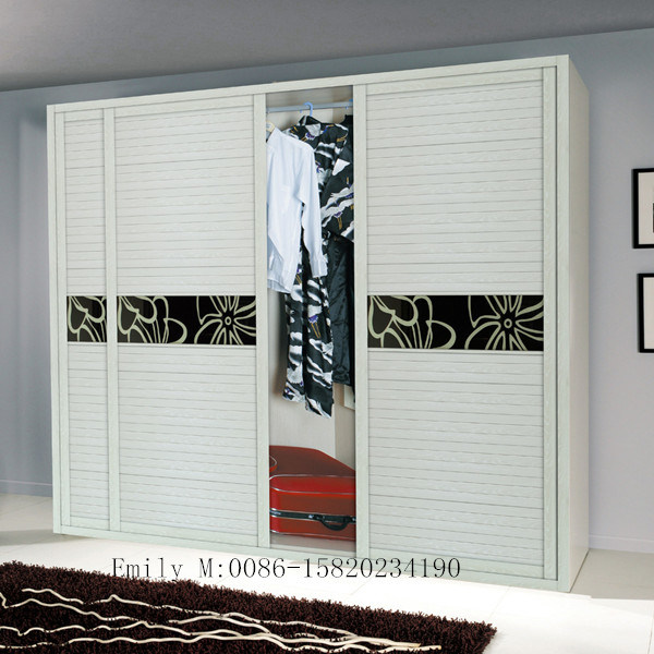 Three Silding Door Melamine MDF Wardrobe (ZHUV factory)
