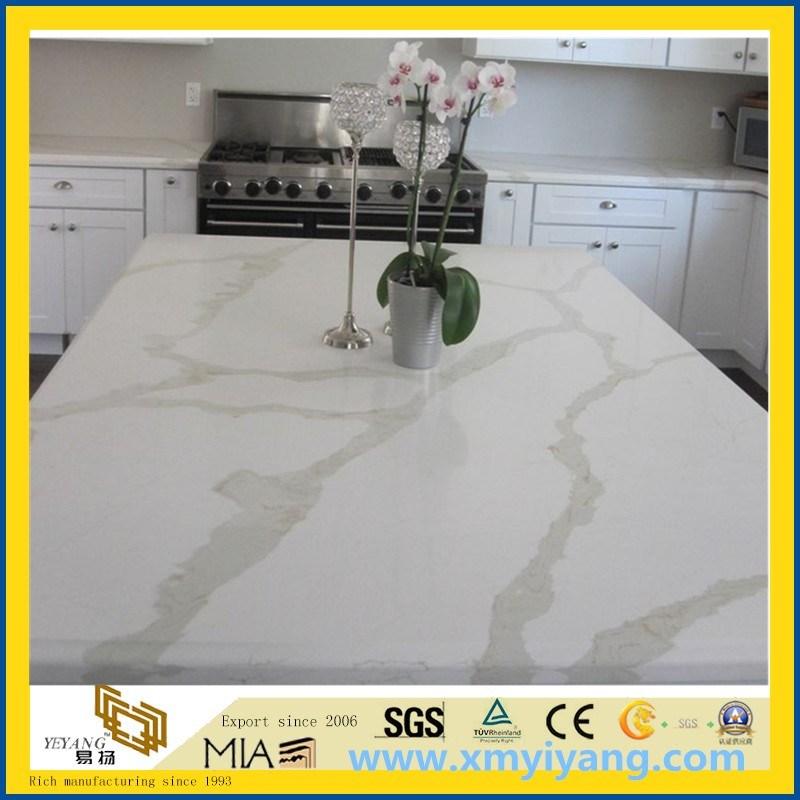 Custom White Calacatta Artifical Quartz Stone Countertop for Kitchen, Island