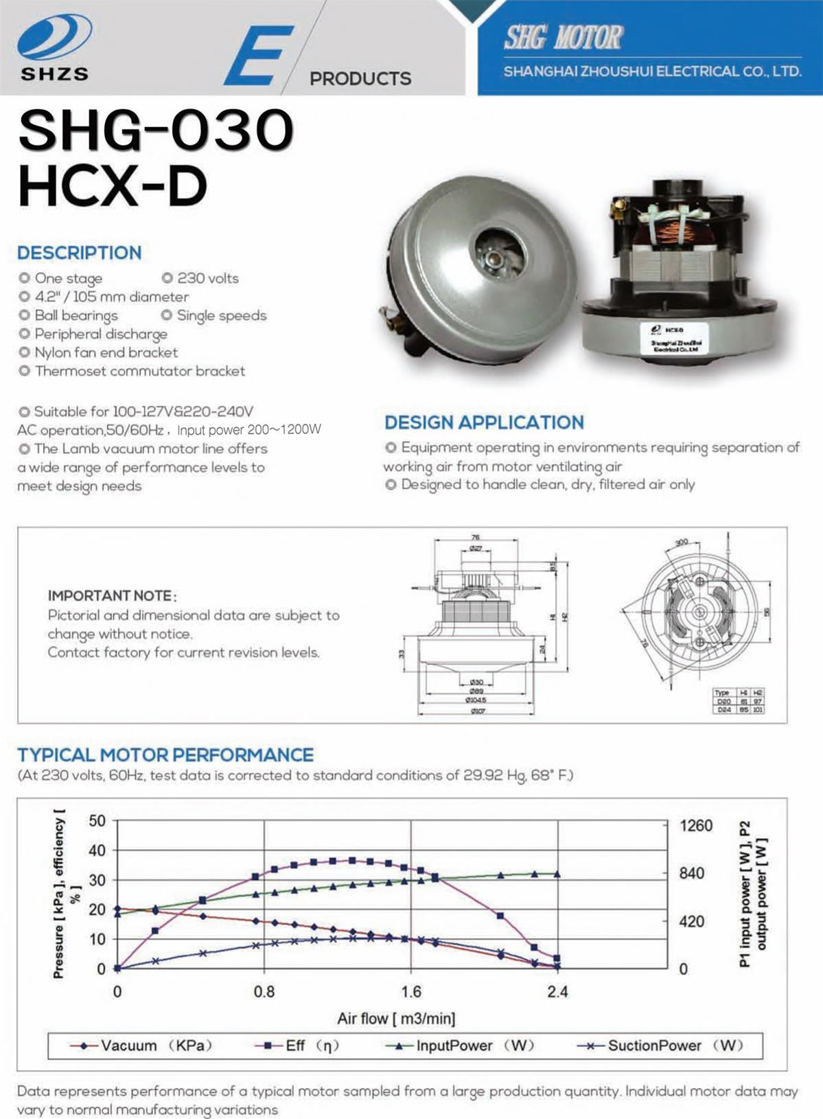 Motor for Vacuum Cleaner Hcx-D