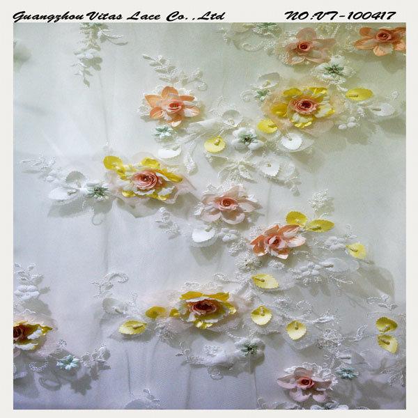 Colorful 3D Floral Lace Fabric Vl-100417-3DBP