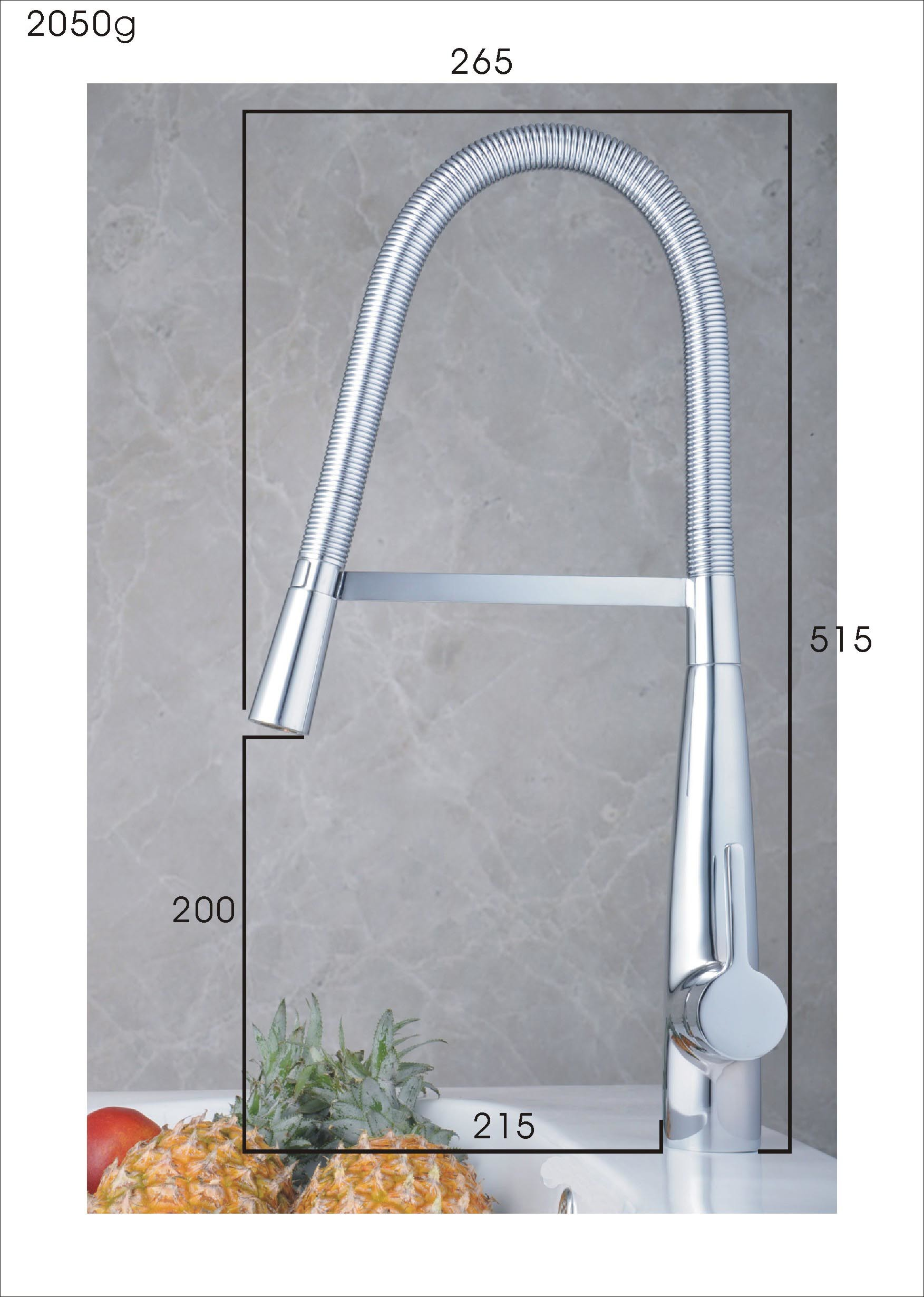 Brass Chrome Pull Down Kitchen Faucet Single Handle Spring Water Tap Mixer