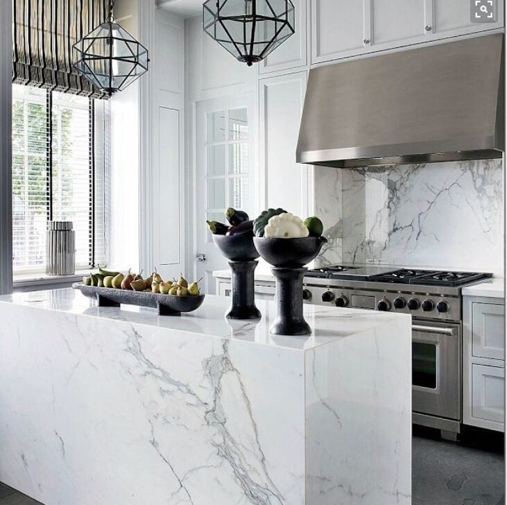 Carrara Marble Kitchen Benchtops: China White Carrara Marble Slab For Waterfall Island/Benchtop In Kitchen Photos & Pictures