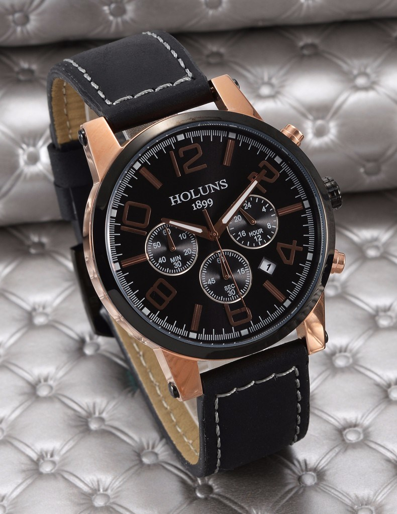 Large Dial Leather Strap Quartz Men Watches Fashion Vintage Watch Waterproof Multifunction Man Watches