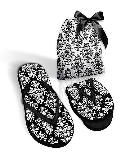 Foldable Pocket Flip Flops with Fabric Black or White Bag