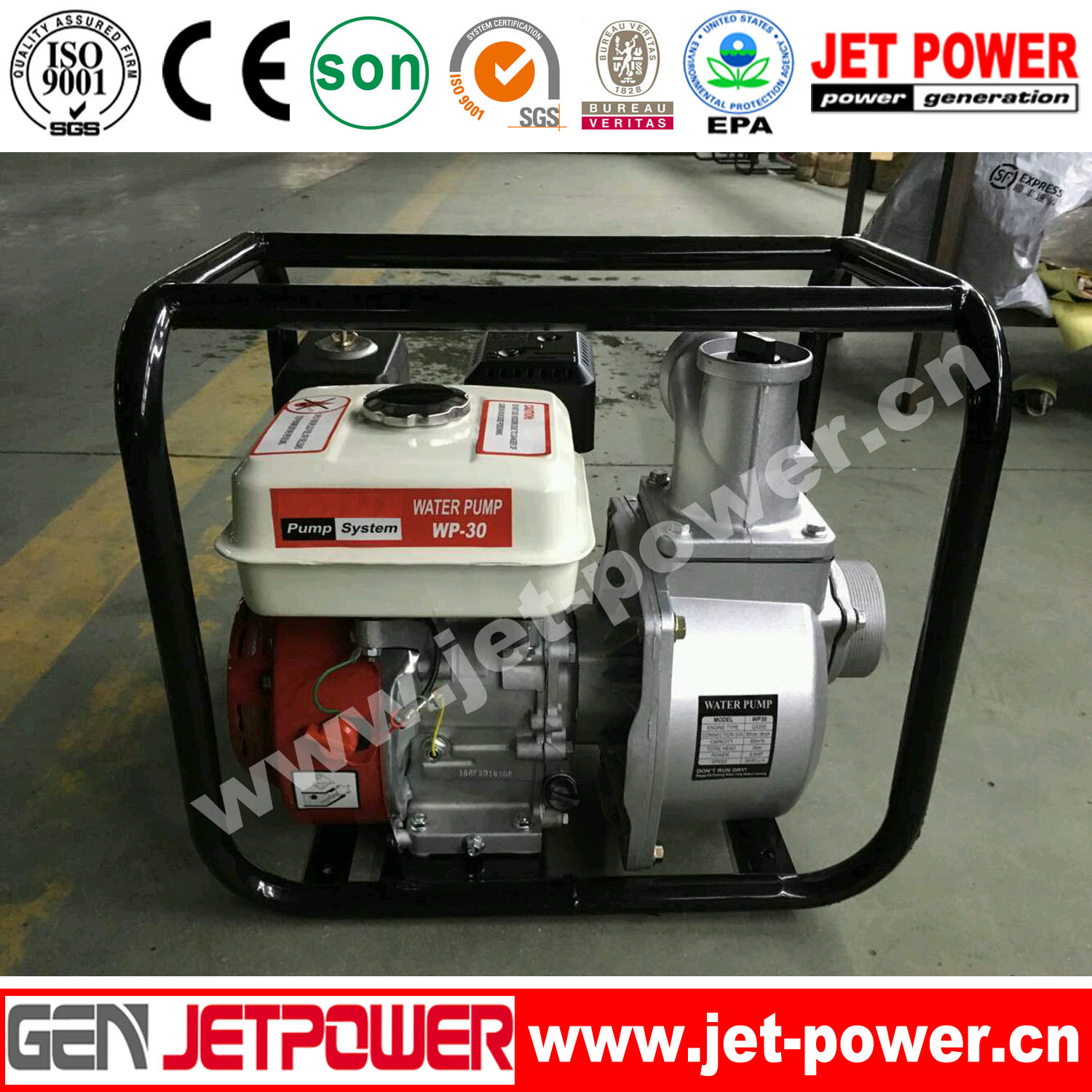 6.5HP Engine Wp30 168-F Gasoline Water Pump
