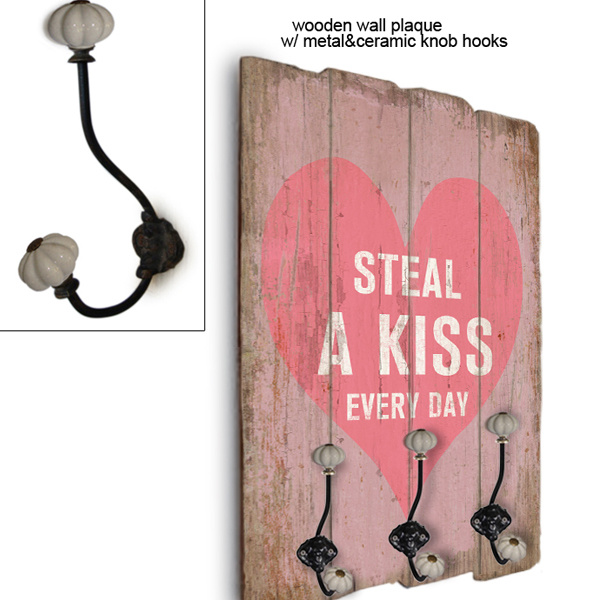 Wooden Wall Plaque / Metal & Ceramic Knob Hook