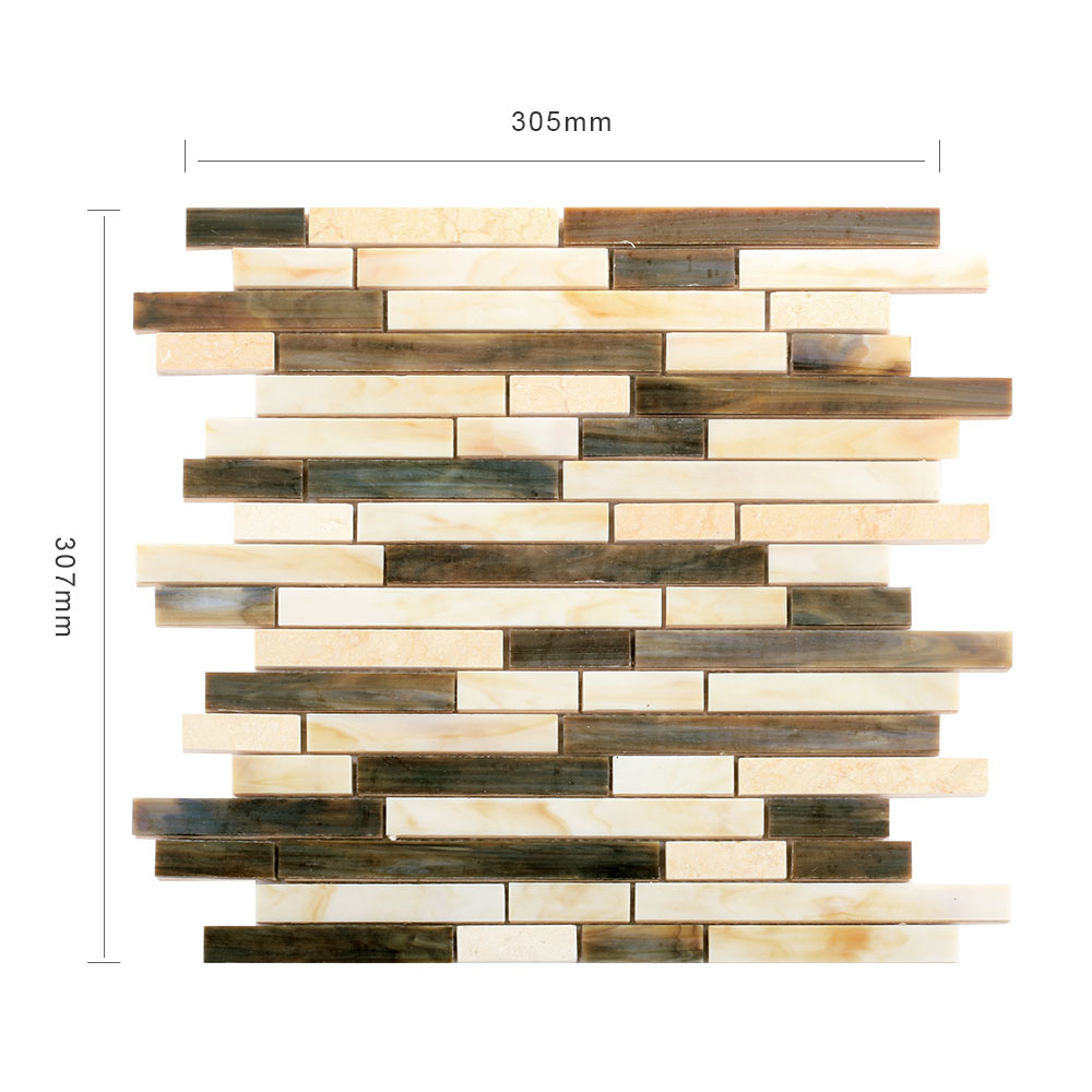 Hand Cut Eco-Friendly Material Kitchen Glass Mosaic Sheet Wall Tiles