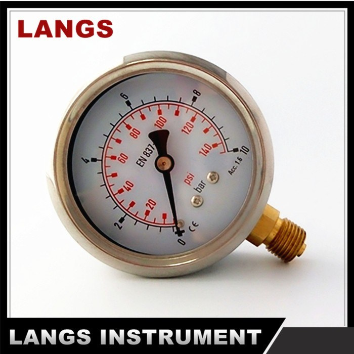 "070A 2.5"" Type Rolling Ring Brass Internal Pressure Gauge Bottom"