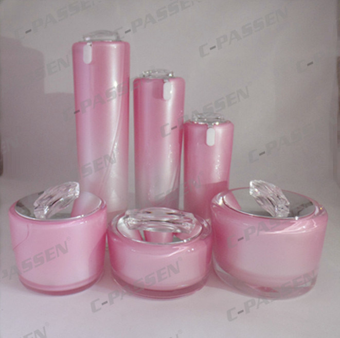 Mirror Pink Cosmetic Packaging Acrylic Cream Jar Lotion Bottle (PPC-NEW-072)