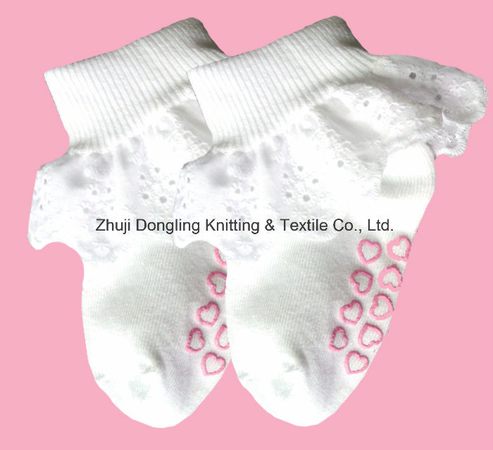 Lace White 100% Cotton Ankle Socks for Baby Girls