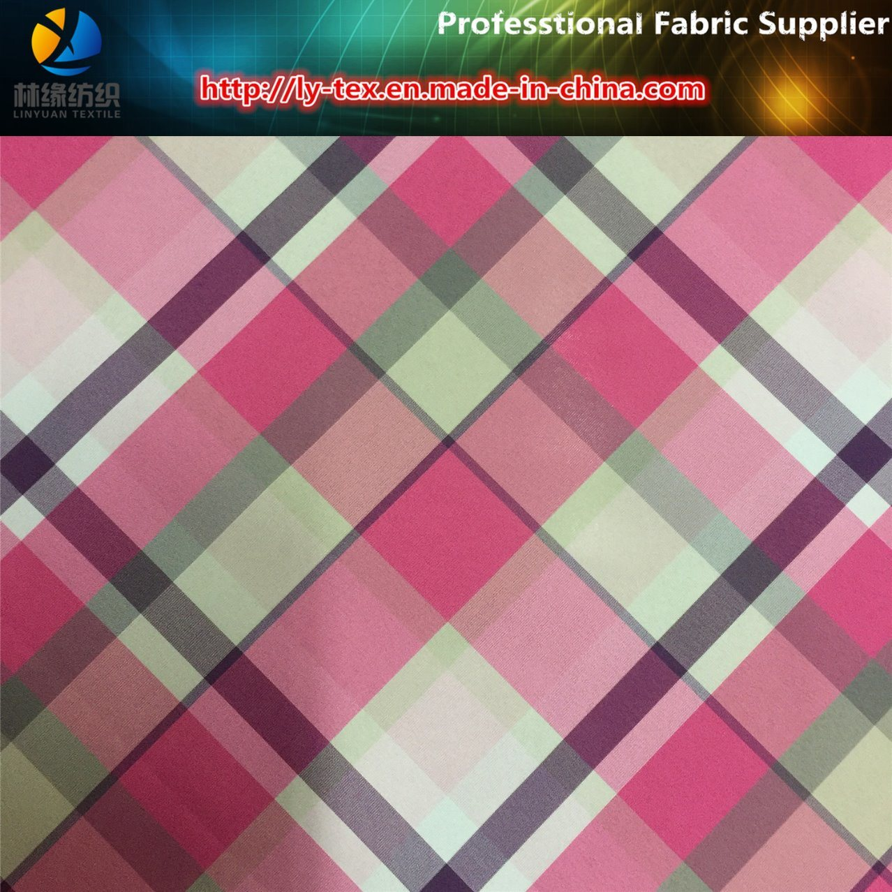Six Color in Weft! Pink Polyester Yarn Dyed Check Woven Textile Fabric for Dress