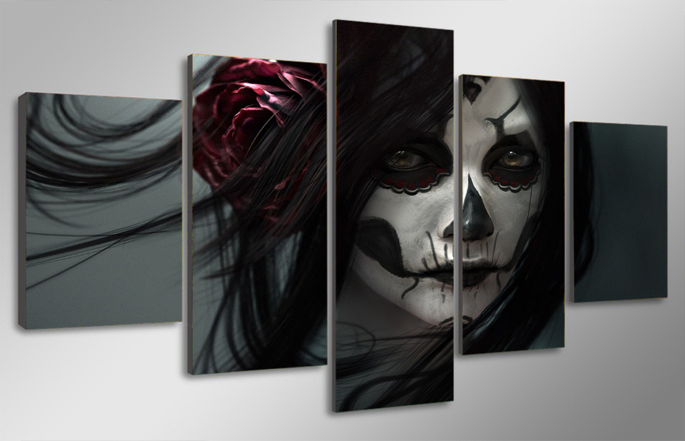 HD Printed Day of The Dead Face Group Painting Room Decor Print Poster Picture Canvas Decoration Mc-036