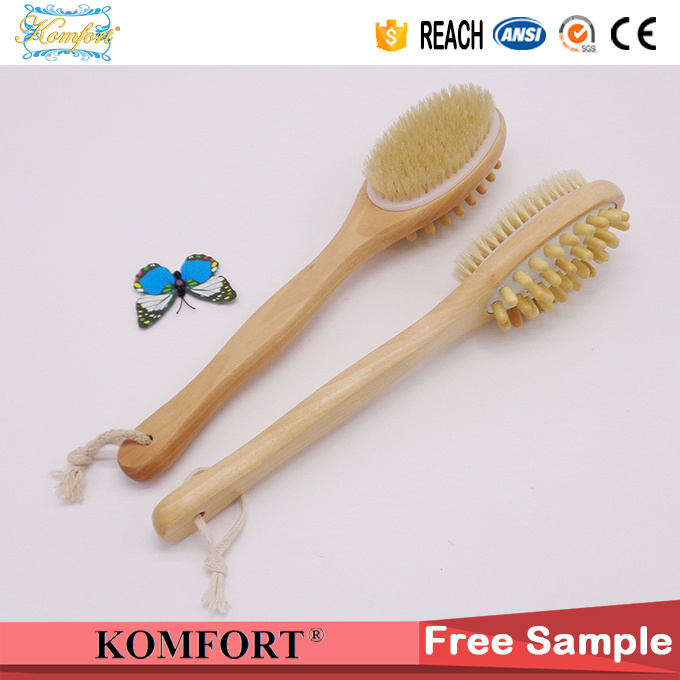 Wood Long Handle Bath Body Back Skin Bristle Massage Brush (JMHF-125)