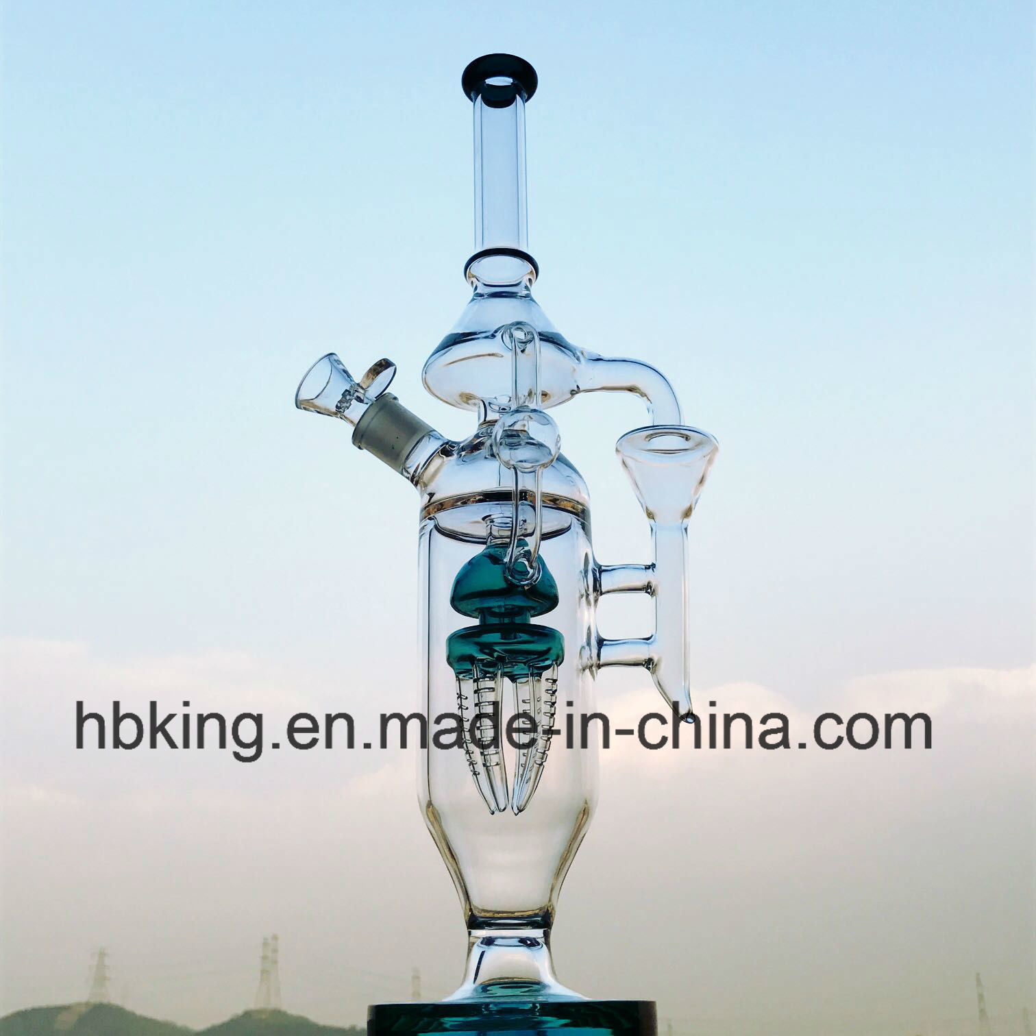 "15"" Hbking Thick Glass Water Pipe Borosilicate Glass Water Pipe Inliner Rocket Perc Smoking Pipe Microscope Fashion Design Top Selling Waterpipes"