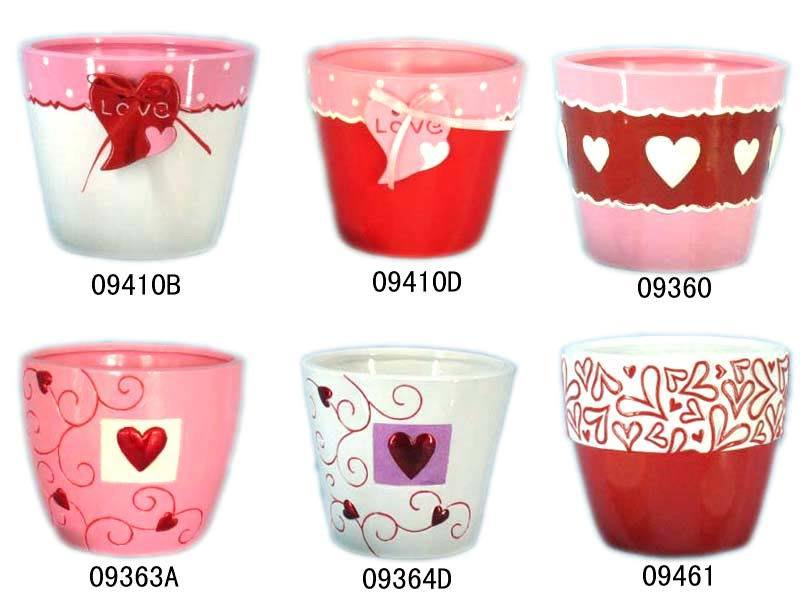 Artifical Rose Flower - Valentine's Day Gift Ceramic Valentine Flower Pot