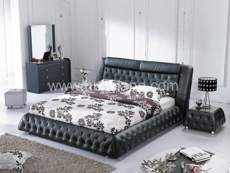 Bedroom Furniture Fabric Leather Wooden Bed (A853#)