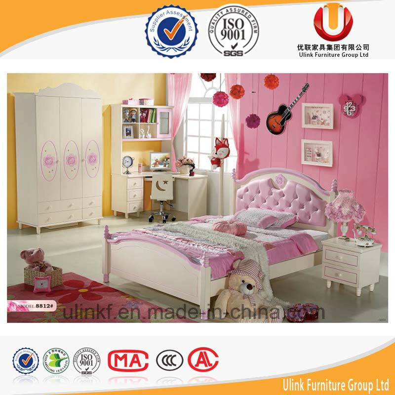 Unique Kids Bedroom Furniture with Bed Writing Table and Wardrobe (UL-H903)
