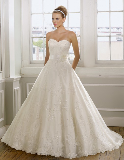 China Sweetheart A Line Chapel Train Lace And Satin Wedding Dress With Ribbon WD2117