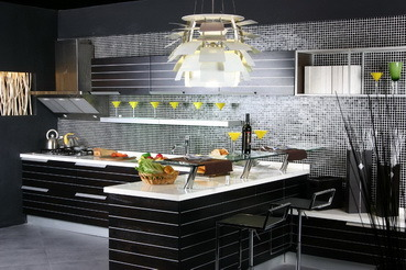 Luxury-modern-black-kitchen-cabinets-with-bar-and-bar-stools