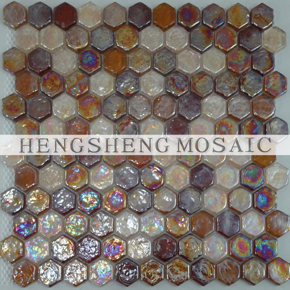 images of Iridescent Glass Mosaic Tile (H_Z11)
