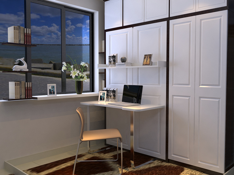 European Style Vertical Wall Bed With Desk And Bookshelf