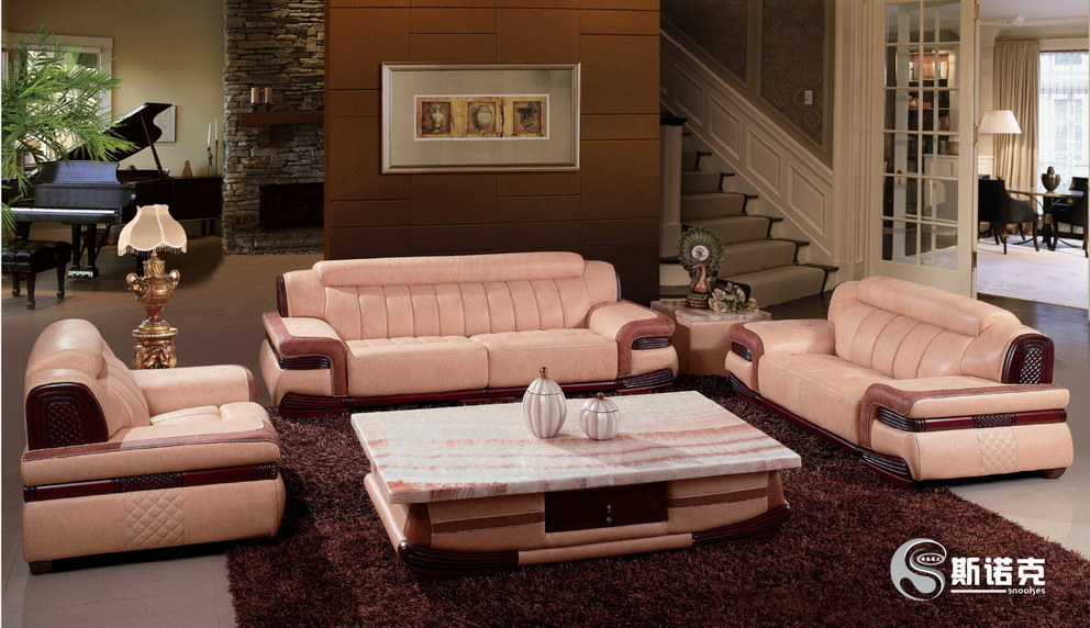 China Wooden Leather Sofa Set Living Room Furniture Q12