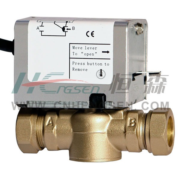 D F-03 Compression Zone Valve/2 Port Motorized Valve/2 Way Motorised Valve/Spring Return Valve Used in Heating&Cooling System 22mm, 28mm Compression