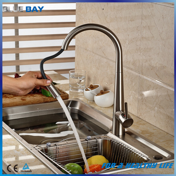 Deck Mount Brushed Nickel Pull Down/out Kitchen Sink Mixer Faucet