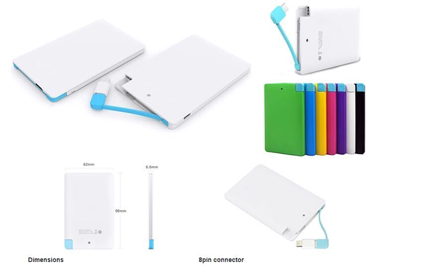 Multi-Color Metal Credit Card 5000mAh Power Bank with Lightning Adatper
