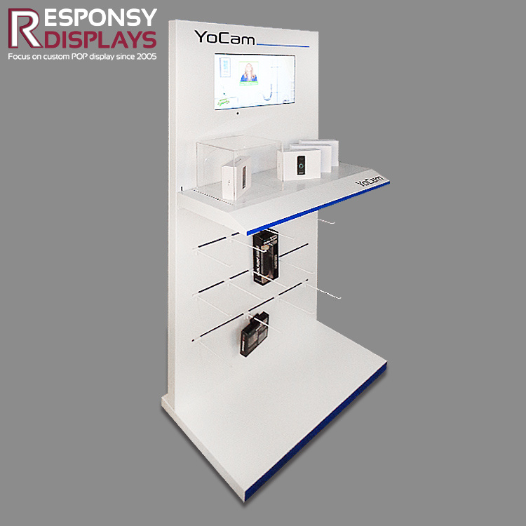 High Quality Floor Wood Motion Camera Display Stand Showcase with LCD Screen