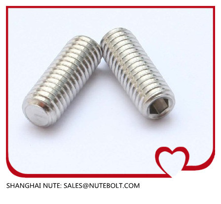 Stainless Steel 304 316 Hexagon Socket Set Screws with Flat Point DIN 913-1980