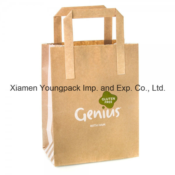 Custom Printed Coated Kraft Paper Flat Handle Sandwich Bag