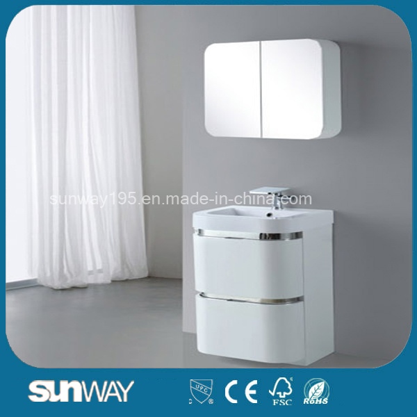 High Gloss Black PVC Bathroom Cabinet with Mirror