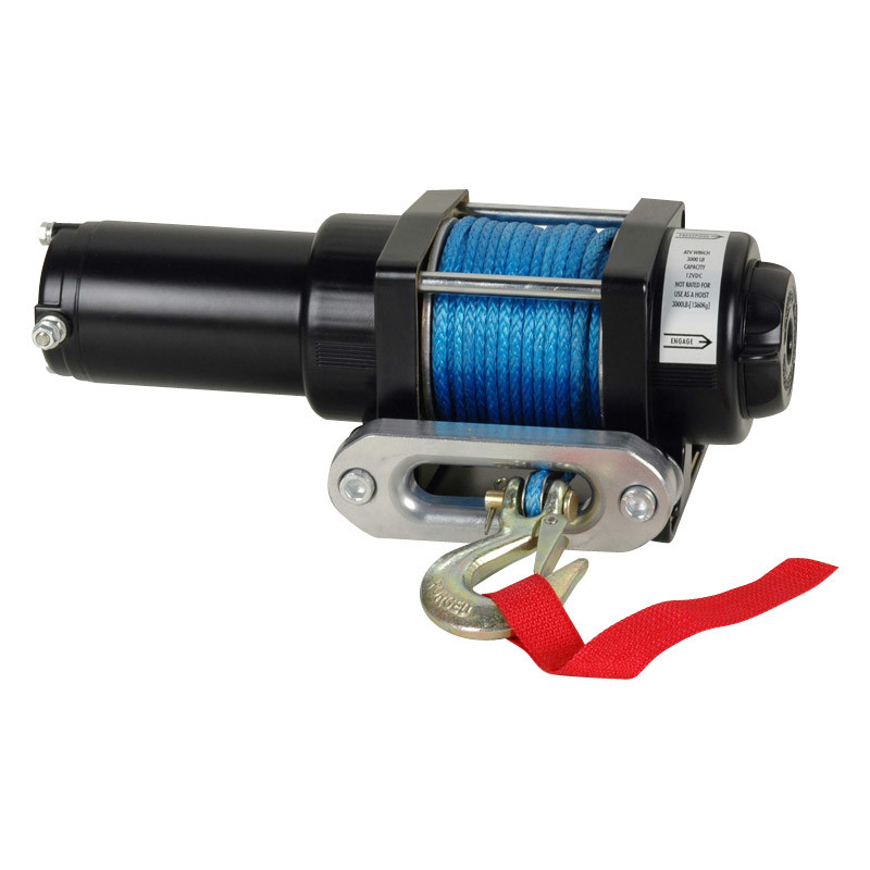 ATV Electric Winch with 3000lb Pulling Capacity, Waterproof, Synthetic Rope