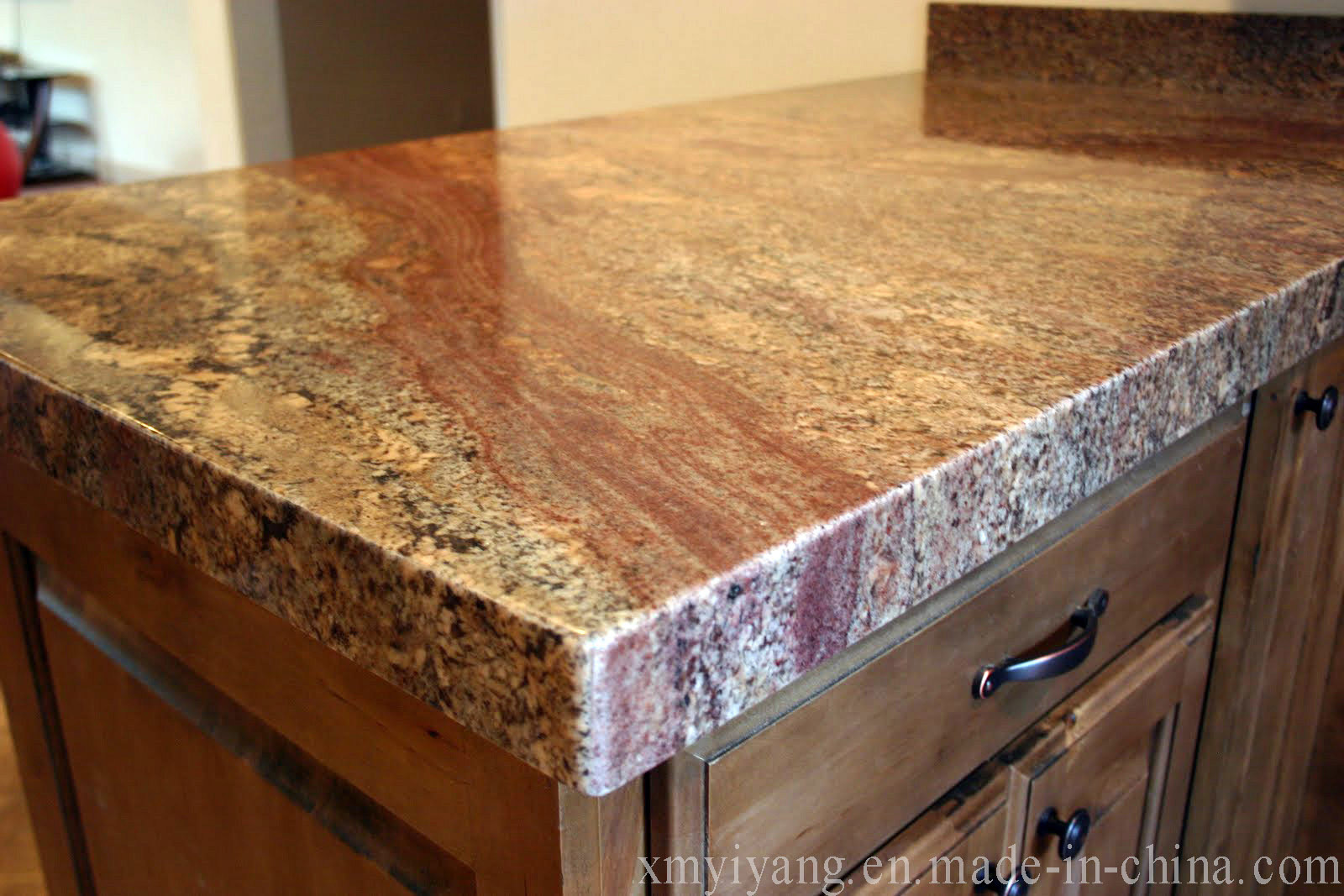 Crema Bordeaux Granite Kitchen China Bordeaux Light Red Pink Splash Ink Vanity Top Granite