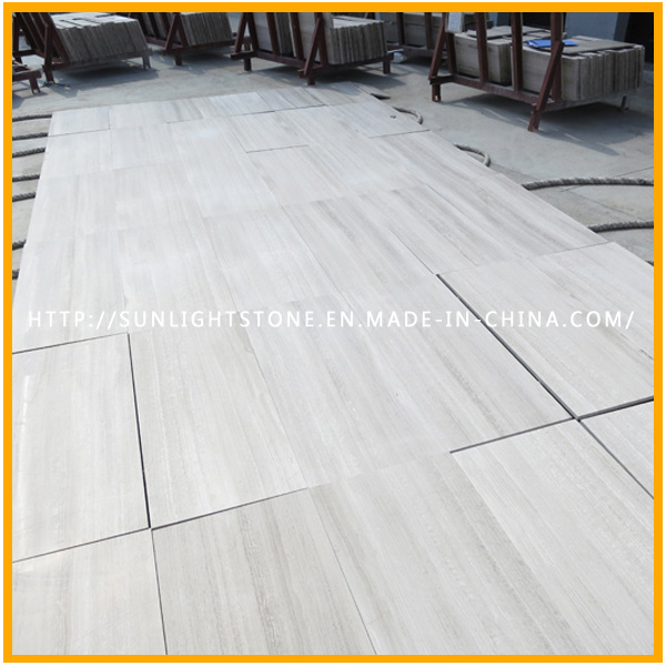 China White Wooden Stone Marble Tiles for Bathroom and Kitchen Flooring