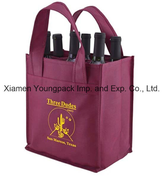 Promotional Custom Eco Friendly Non-Woven Fabric Reusable 4 Bottle Wine Carry Bag
