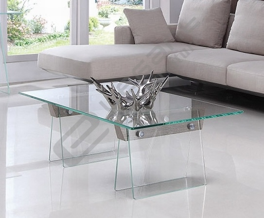 Rectangle Clear Glass Coffee Table with Chou-Heung Veneer Solid Wood