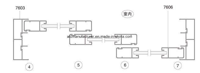 76 Series 3-Tracksash Aluminium Alloy Extrusion Profile for Door and Window