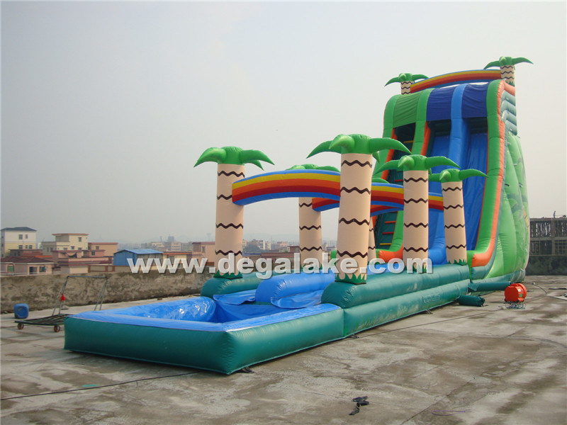 "Inflatable Palm Tree Slide with Slip ""N"" Slide"