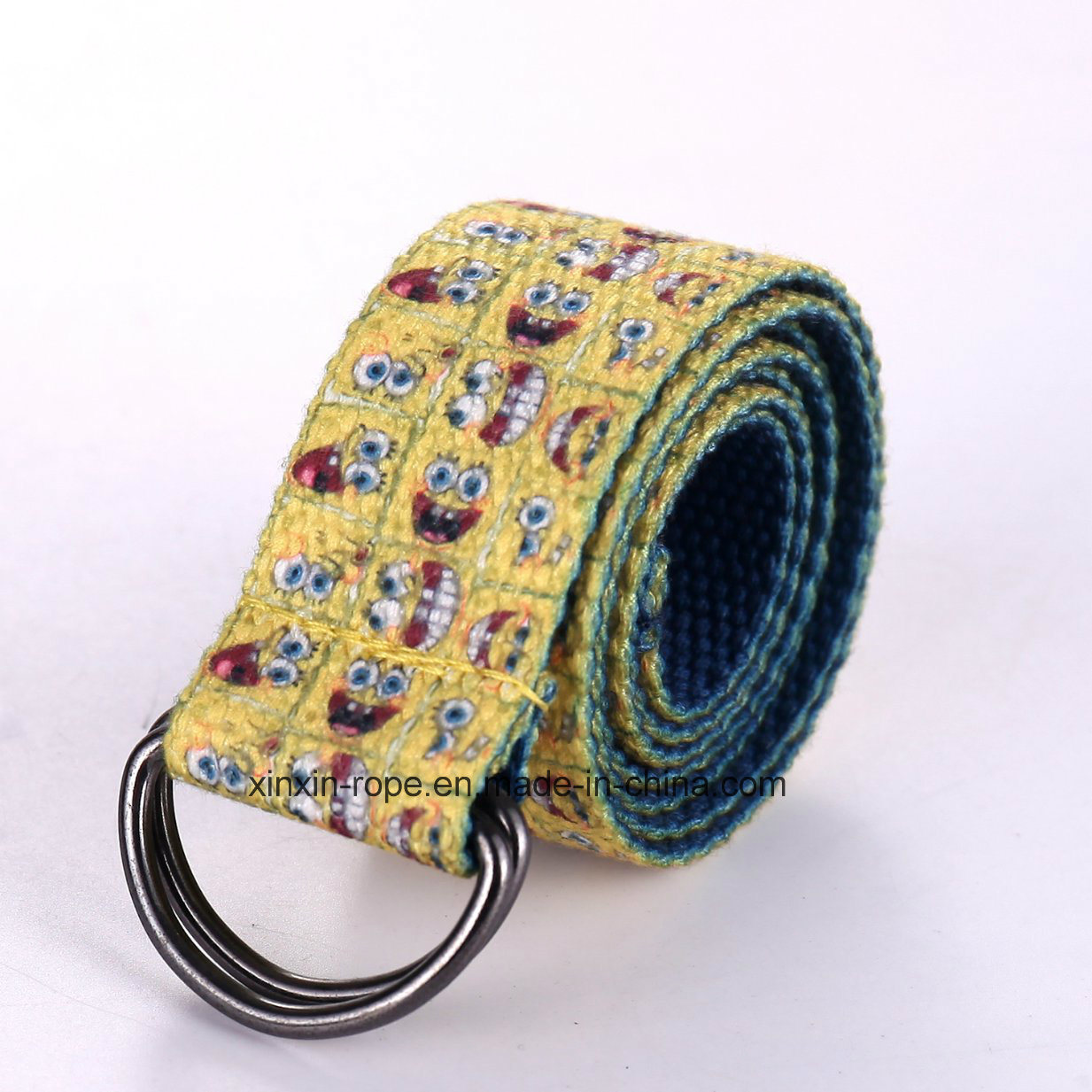 Double Ring Buckle Minions Jacquard Webbing Belt for Child Gift